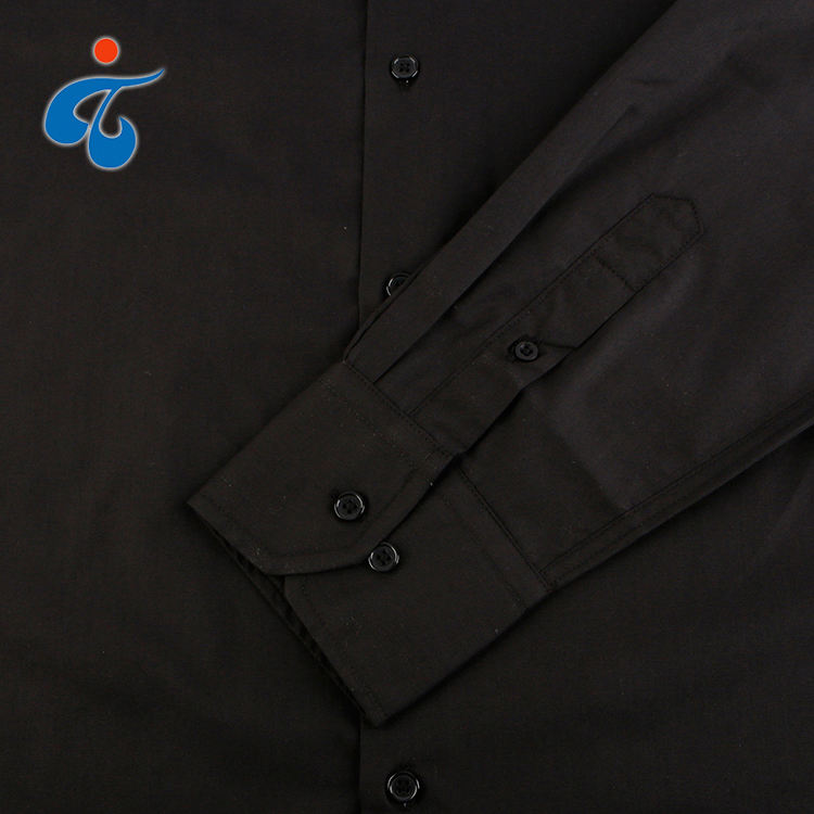 Designer eco friendly polyester cotton woven plain dyed black long sleeve workwear uniform dress shirt