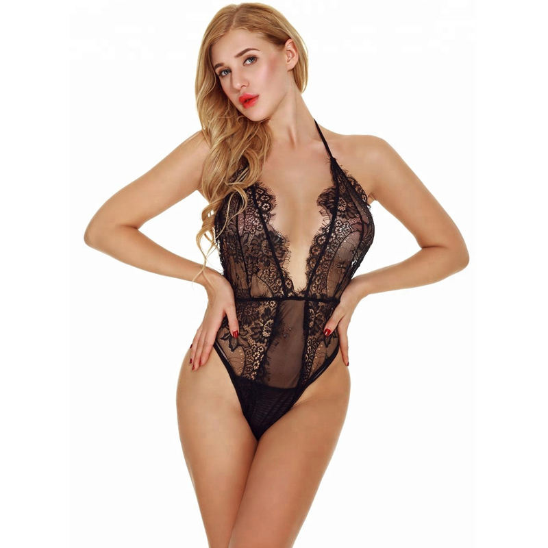 LH5062 High Quality Lace Deep V-Leher Wanita Seksi Teddy Lingerie Import China