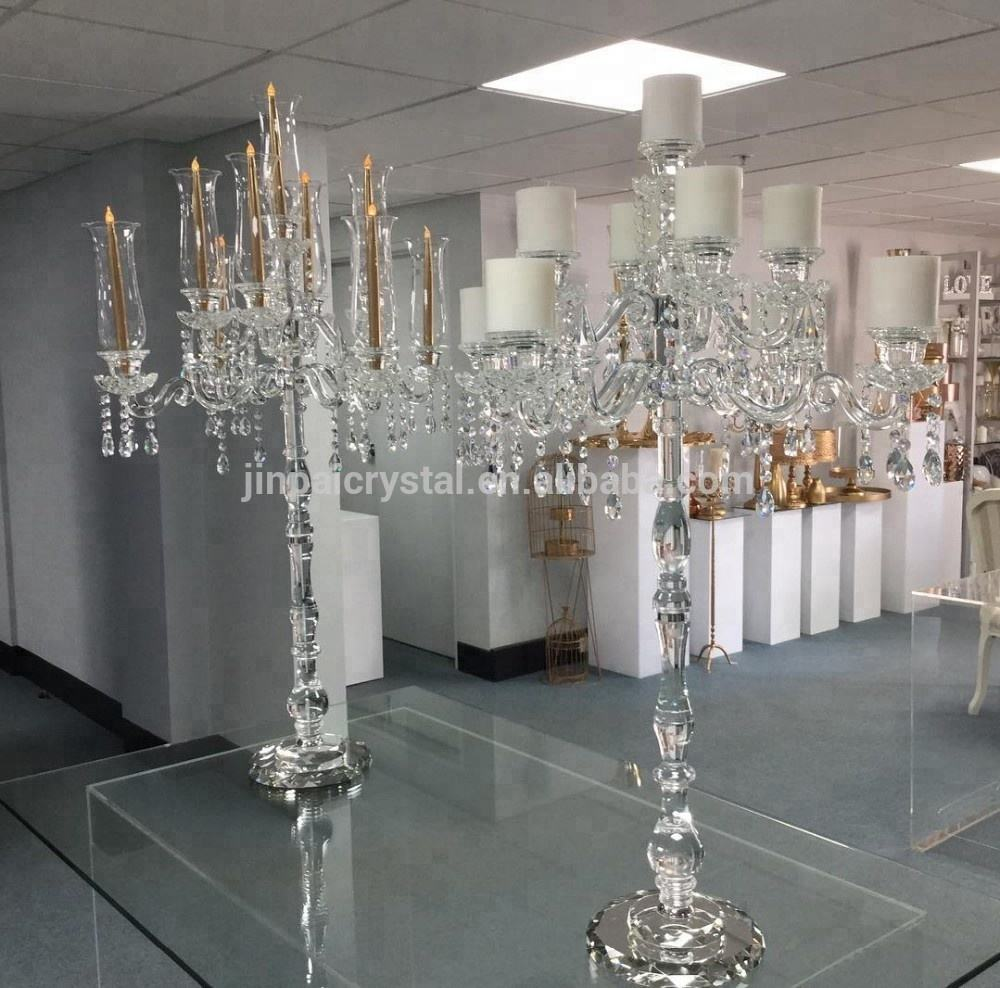 2017 new design good quality yiwu wholesale tall crystal candelabra with 9 arms for weddings
