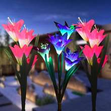 Outdoor Solar Garden Stake Lights Solar Multi-color Changing LED Powered Lights with Lily Flower