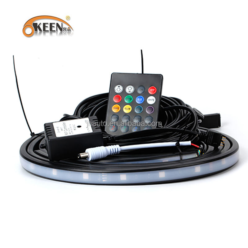 KEEN DC 12 V 90*120 cm RGB Auto Led <span class=keywords><strong>Underbody</strong></span> Kit Lights Auto Underglow Decoratie Licht met afstandsbediening controle