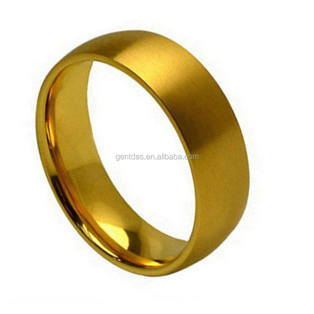 Wedding Simple Gold Ring Without Diamond Men's 7mm Titanium Band Titanium Ring Gold Plated