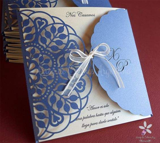Square laser cut wedding invitation cards with lace