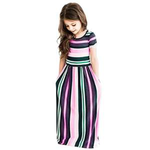 YSMARKET Striped Print Dress For Girls Children Clothes Casual Summer Short Sleeve Maxi Long Dresses Straight Kids EW363