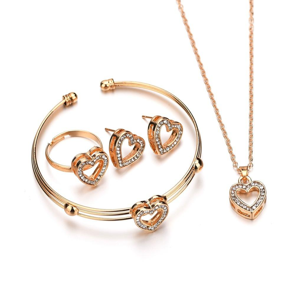 4 pcs Cute Heart Shaped Necklace Earrings Sets Jewelry Crystal Kid Children Lovely Gold Color Jewelry Sets for Girl