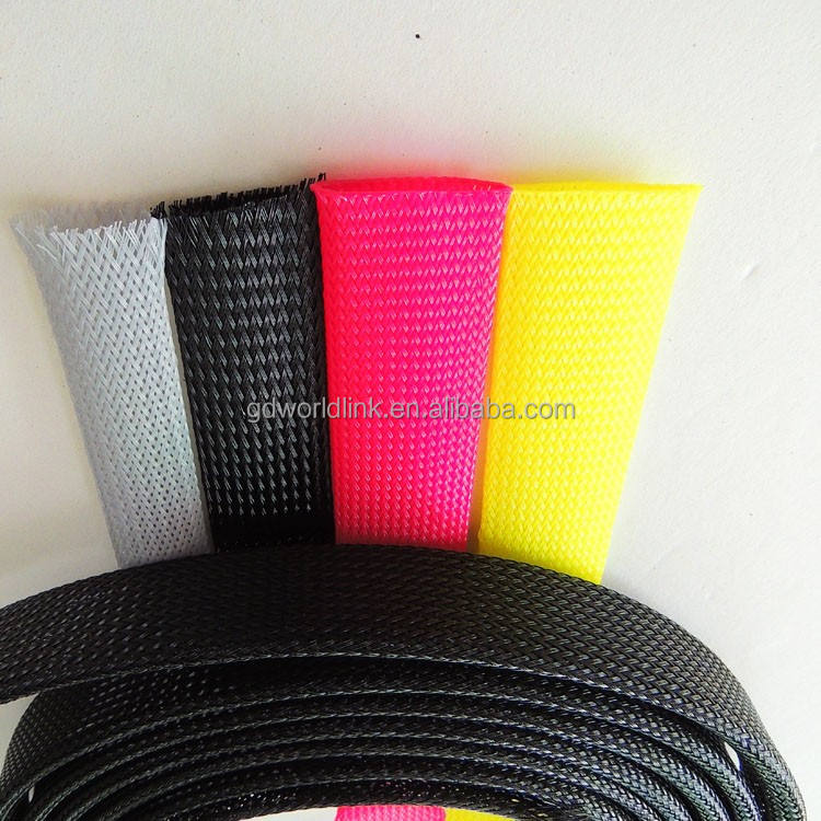 Fire resistant cable protective 20mm pet expandable braided sleeving