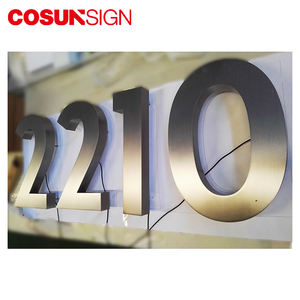 New Stainless Steel Glow In The Dark Illuminated Metal Solar Led House Number Plate Sign
