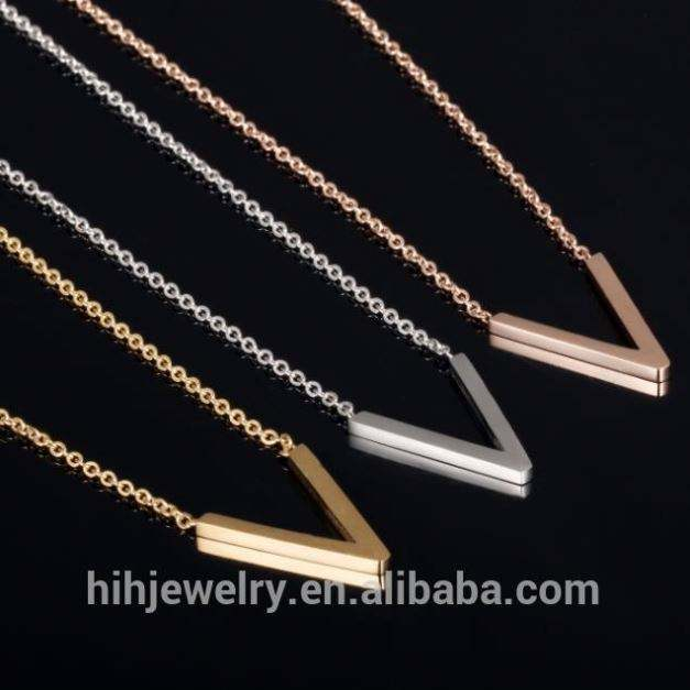 simple stainless steel bar pendant necklace latest metal V shape necklace women customs OEM V necklace ladies wholesale