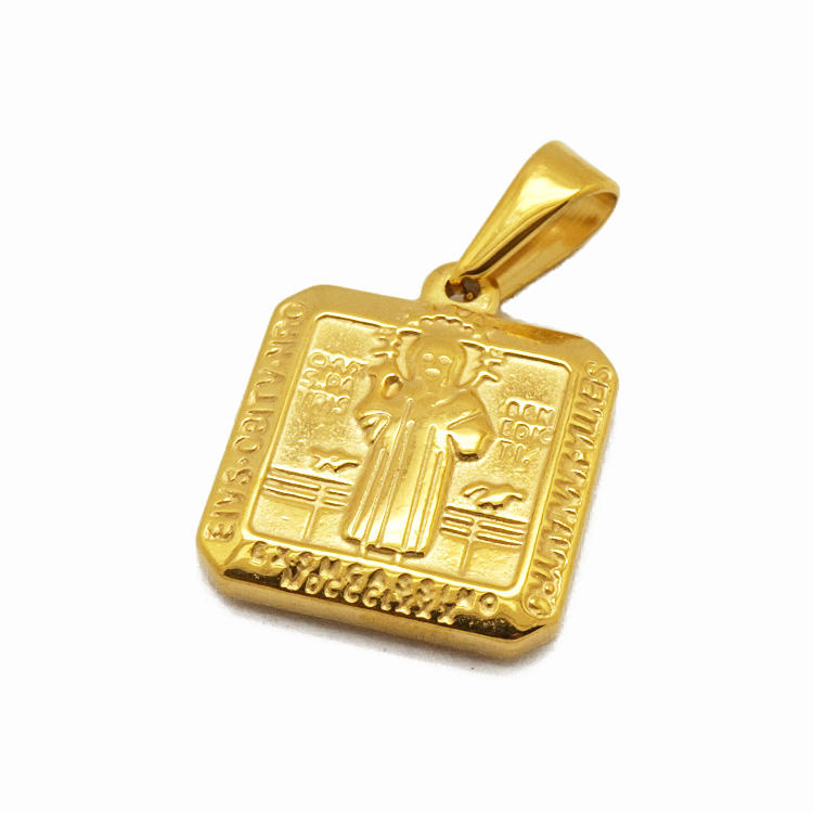 Gold Religious San Benito Crucifix 316L Surgical Stainless Steel St Benedict Medal Jesus Piece Cross Pendants