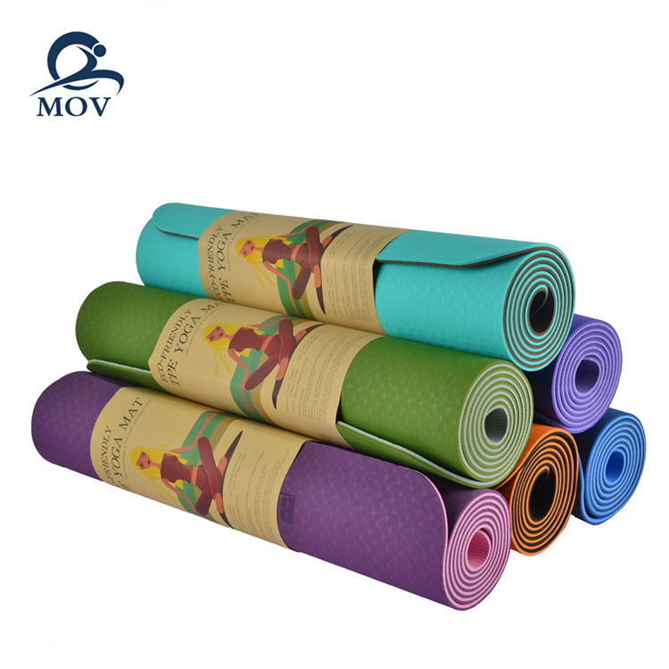 6MM Double layers TPE Custom Print Logo Label Waterproof Anti Slip TPE Eco Yoga Mat