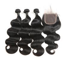 Brazilian Virgin Human Hair Bundle With Body Wave Lace Closure Free Part, Middle Part, Free Part Cheap Human Hair Closure