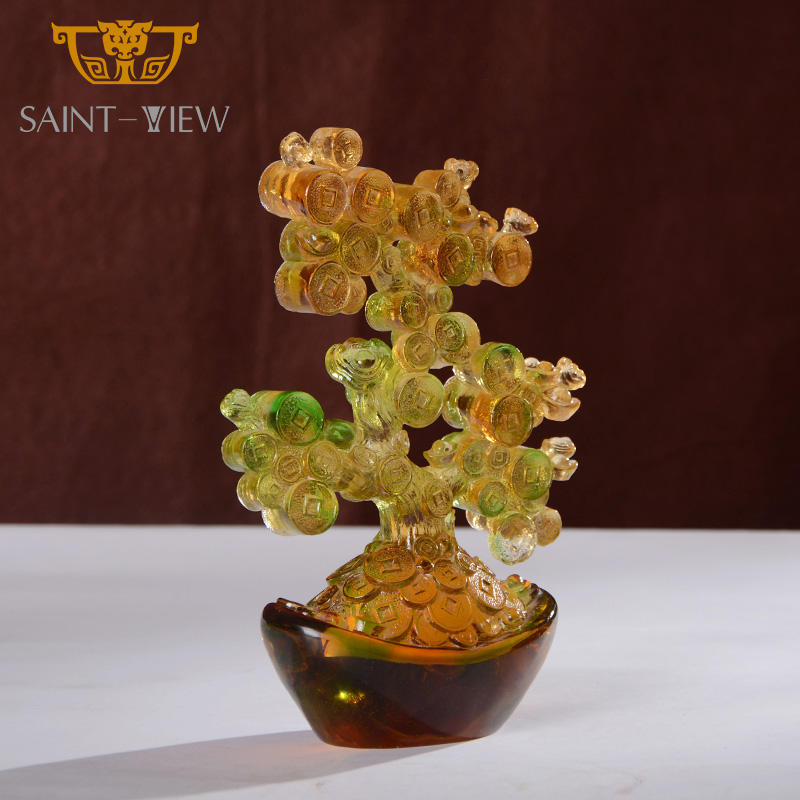 Liuli Crystal Chinese Feng Shui Lucky Fortune Money Tree Craft