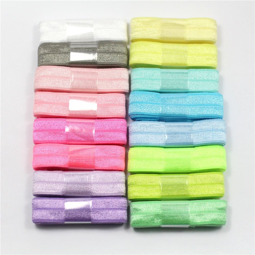 Mix Color15mm High Stretchy Solid Color Fold Elastic Gift Ribbon Set