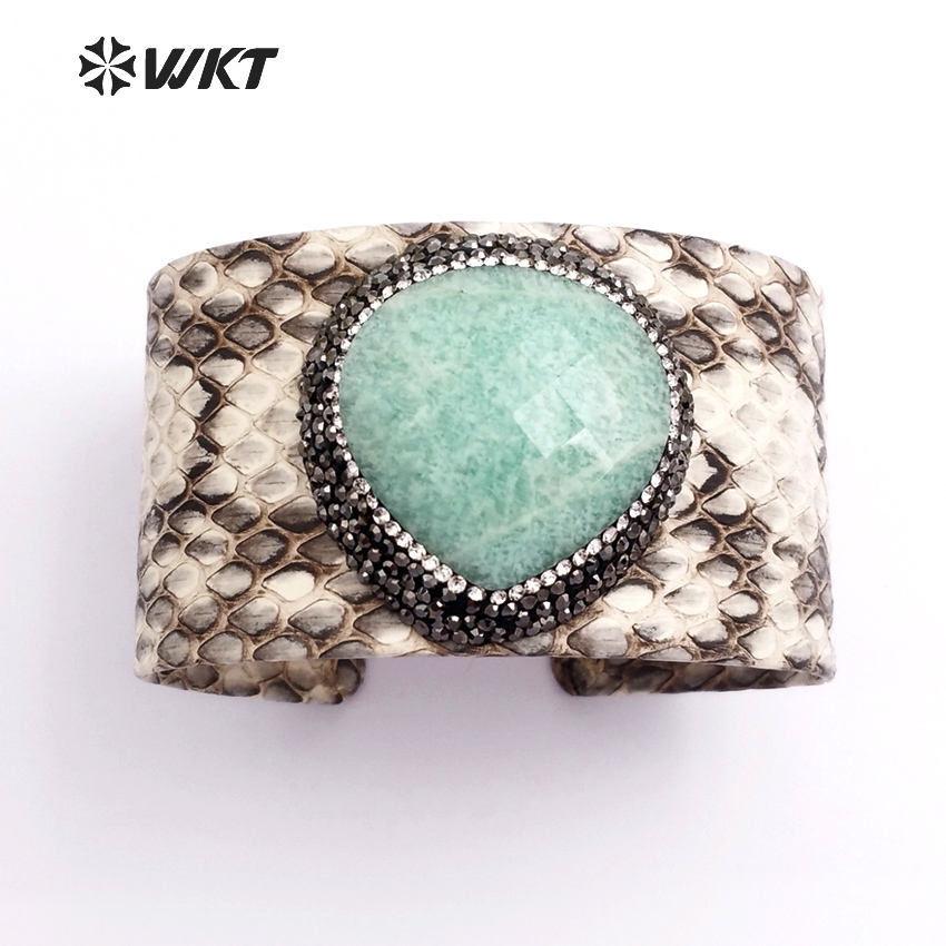WT-B203 Exclusive Gorgeous natural amazonite stone bangle, fashion leather cuff stone bangle