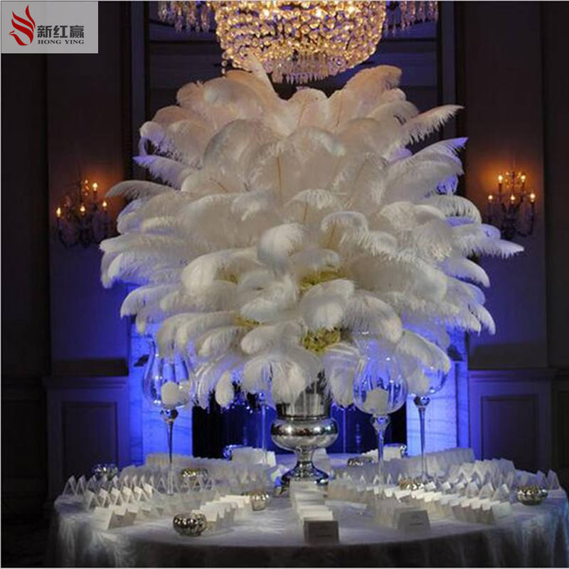 free shipping 50 pcs/bag wedding decorations feathers 30-35 cm / 12 to14 inch white ostrich feather ostrich