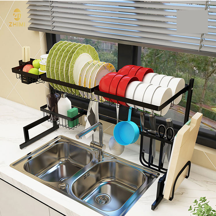 Whosale High Quality Standing Type Kitchen Sink Storage Rack 201 Stainless Steel Dish Drainer Rack