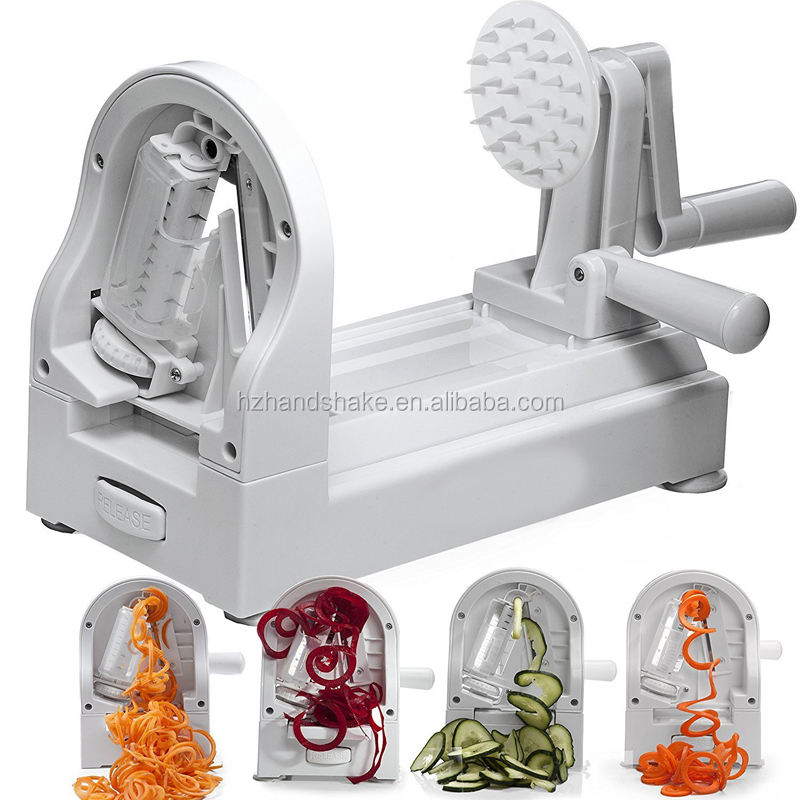 [New Edition] Spiralizer Vegetable Slicer and Zoodle Maker | Spiral Slicer with 4 Built-in Blades | Heavy Duty Veggie Spiral