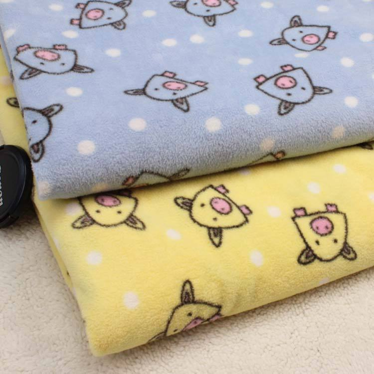 100% polyester pig print polar fleece fabric