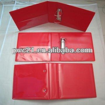 A5 size red plastic pvc ring binder