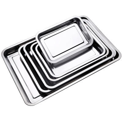 T-005TR Restaurant Non-slip Dinner Plate serving Thick Bbq Tray Rectangular Buffet Food Stainless Steel Serving Tray Decorative