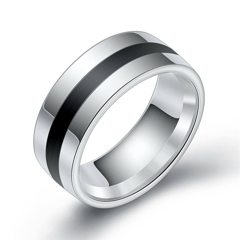 Wholesale Black 316L Stainless Steel Ring For Men Women Wedding Bands Trendy Groove Rings Jewelry