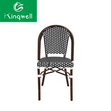 All-weather outdoor use french bistro bamboo look rattan cafe chairs