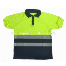Hi Vis Safety Workwear Polo T-shirt With Reflective Tape