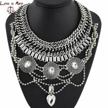 Silver chain pendant necklace high quality vintage statement necklace jewelry for women