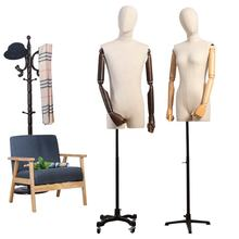 wholesale fabric covered half size dress form torso bust form wooden arm mannequins with head