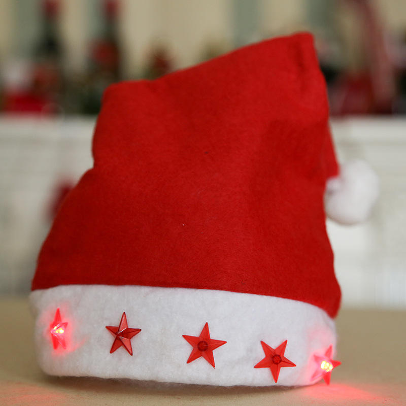 Classic Xmas red hat unisex five stars led Christmas ornament hats with lights