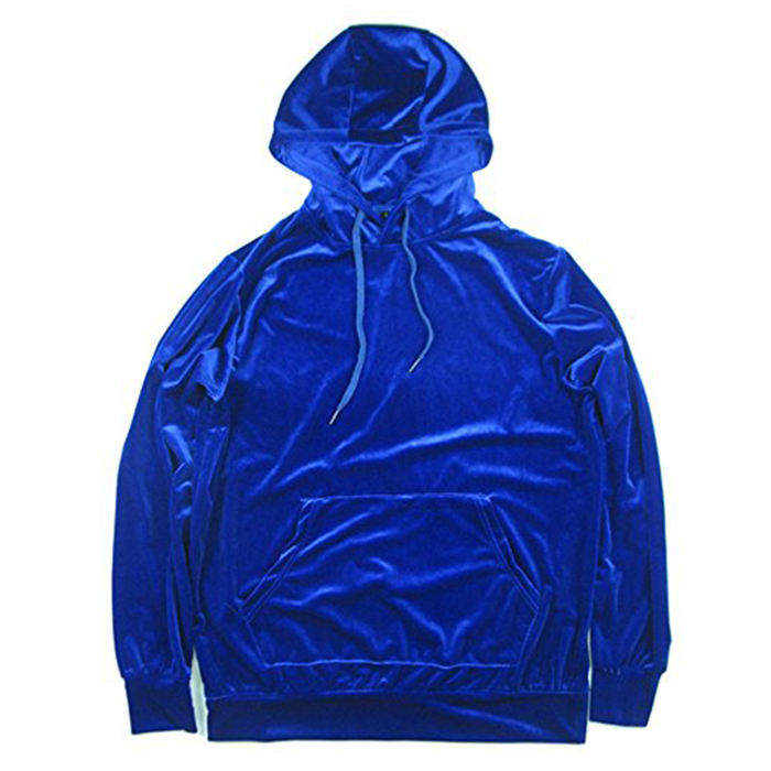 custom velvet logo blue pull over hoodie