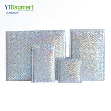 Shipping Packaging Holographic Bubble Envelope Mailing Bags Rainbow Metallic Poly Holographic Bubble Mailers