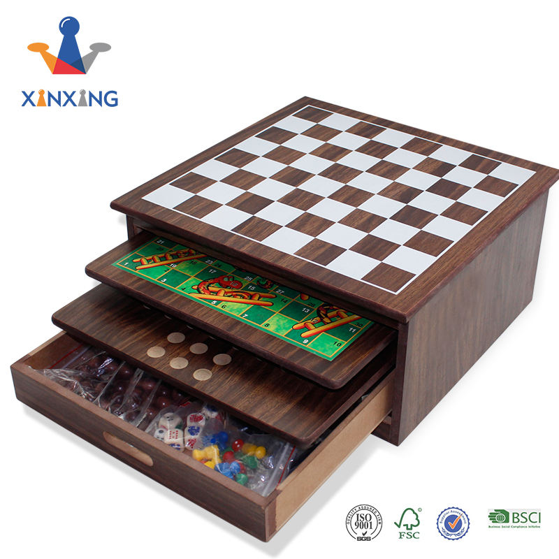 wooden 15 in 1 or 10 in 1 game set with draw