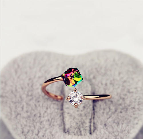 Gold Color Adjustable Ring Fashion Simple Colorful Cube Zircon Crystal Finger Ring for Women Engagement Jewelry