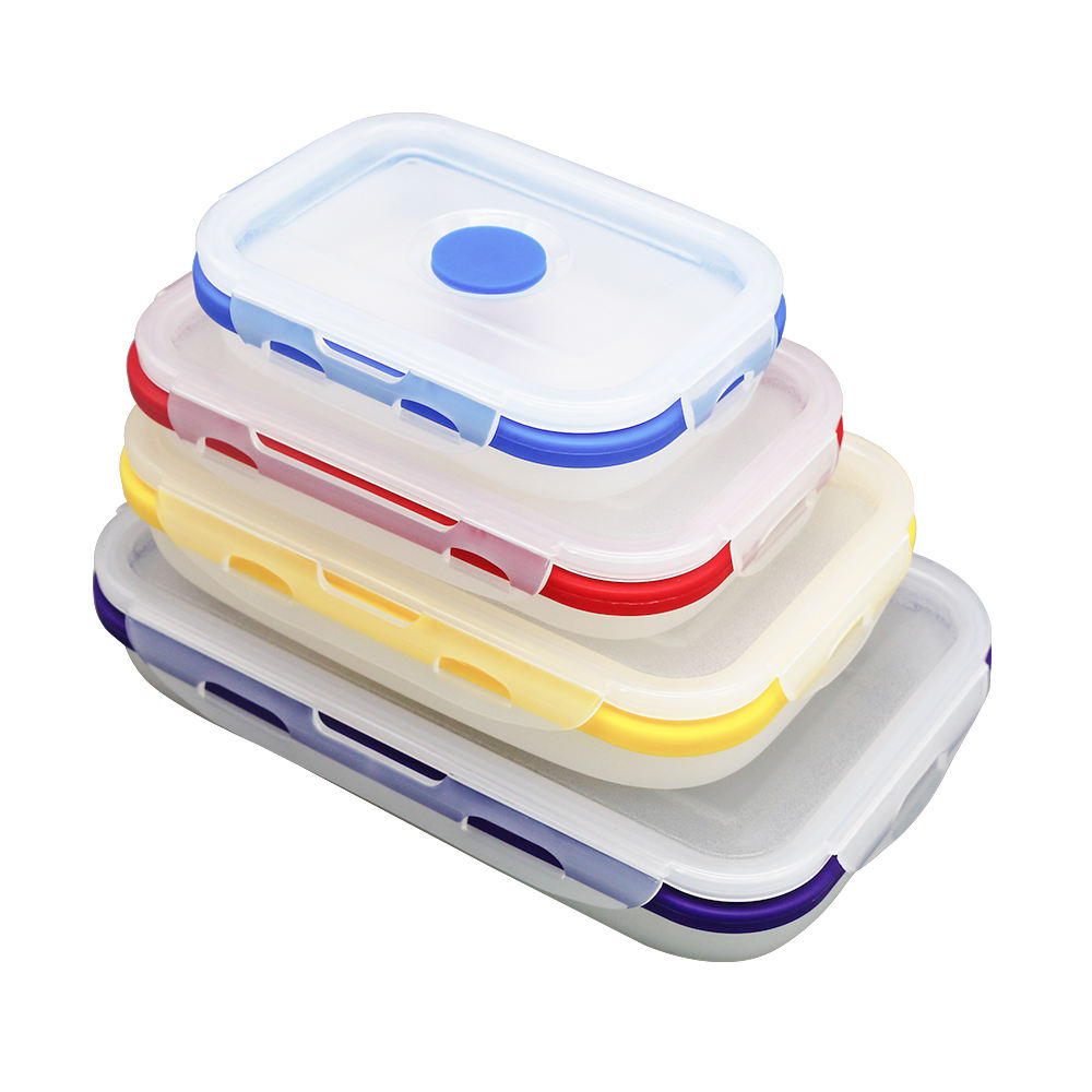 Foldable leakproof bento kids silicone lunch box
