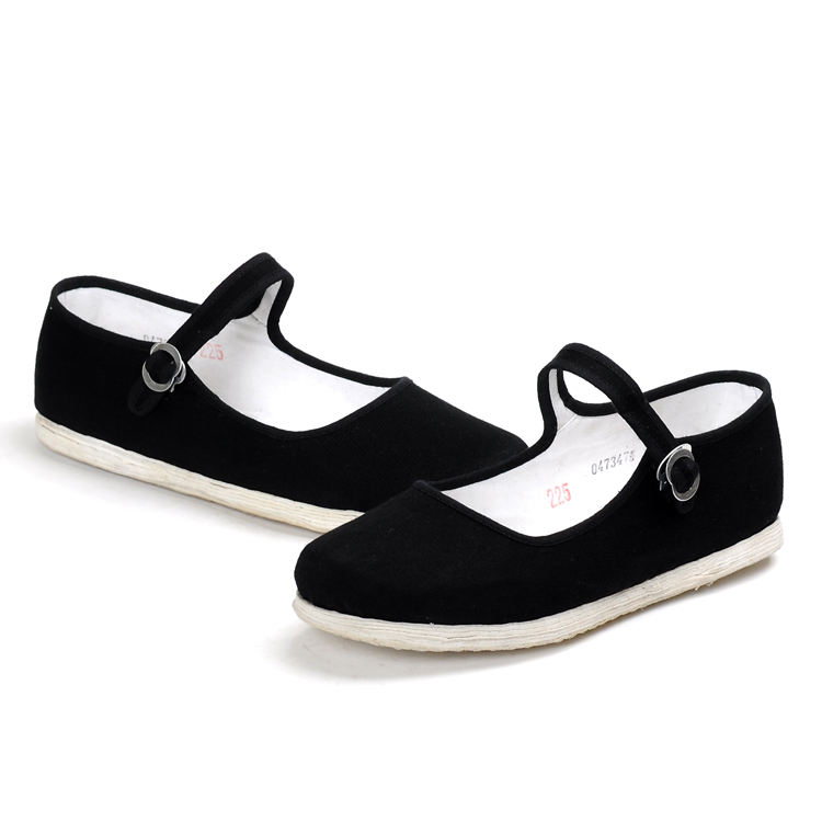 Chinese factory wholesale high quality China style buckle strap black handmade cloth shoes
