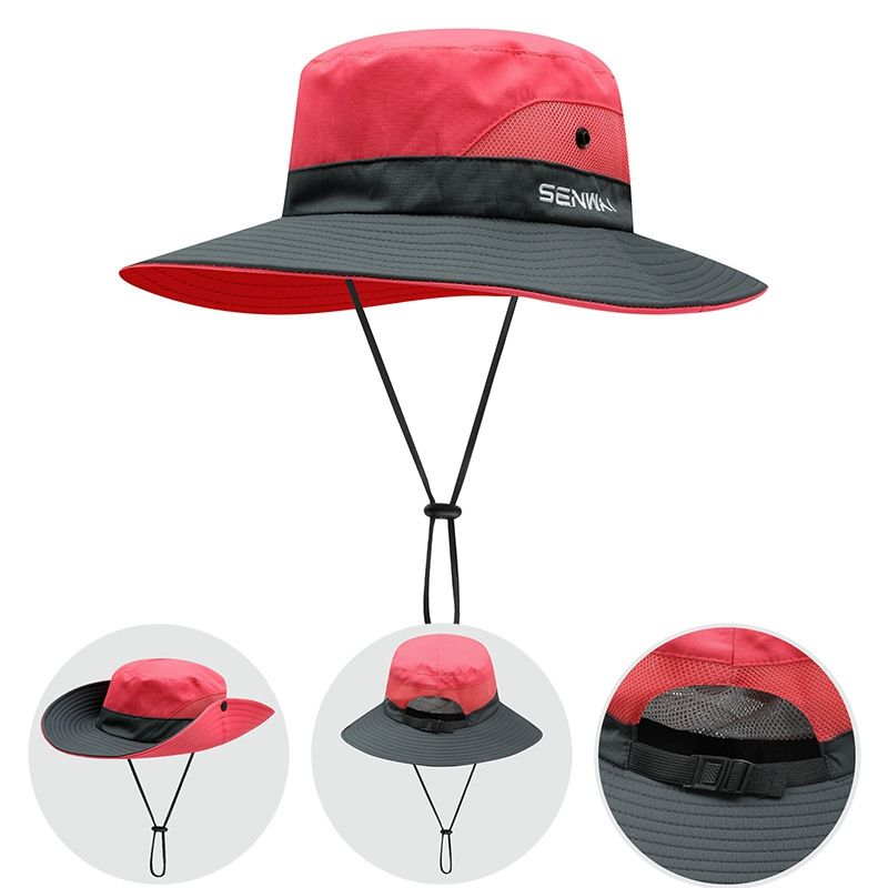 Bucket Hat Wide Brim Quick Drying Breathable Packable Foldable Sunshade Sun Ponytail Cap With Chin Strap