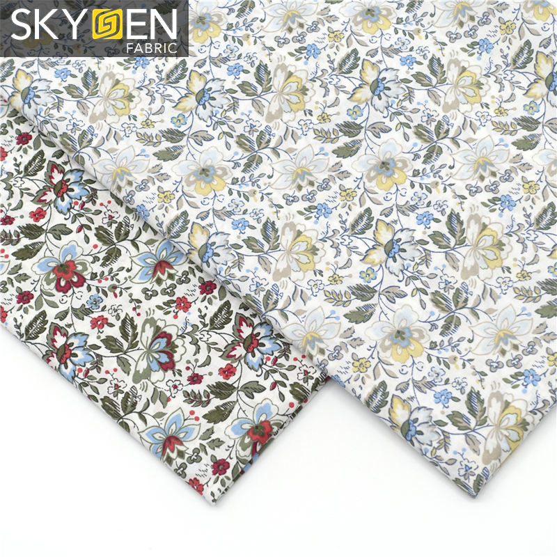Skygen beautiful design unique woven printed plain flower with100% cotton fabric