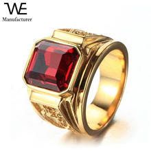 Wholesale Titanium Square Crystal Dragon Engrave Gold Ring for Men