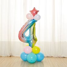 17pcs Colored Birthday Column Balloon Set Numbers 0- 9 Prince Crown Foil Balloons Baby Shower Decoration Party Supplies
