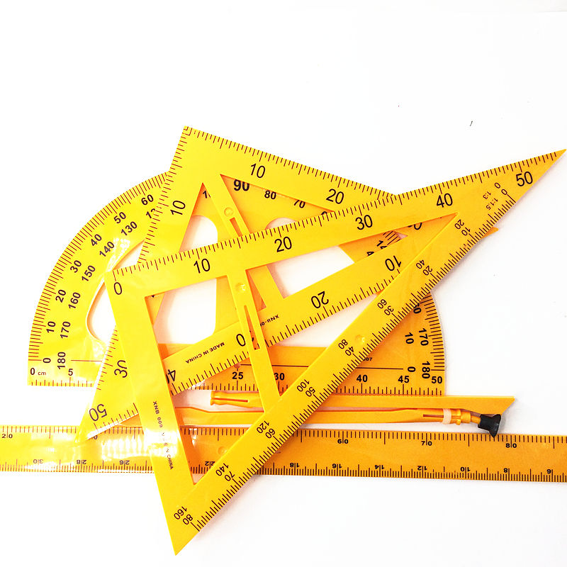 School Classroom Stationery Supply Geometric Math Scale Tools Protractor Triangle Rulers Teaching Plastic Ruler Set