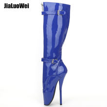 "7"" High Heel Sexy Fetish Goth Ballet Boots For Women Pu Patent Lockable Zip Buckle Strap Knee High Boots"
