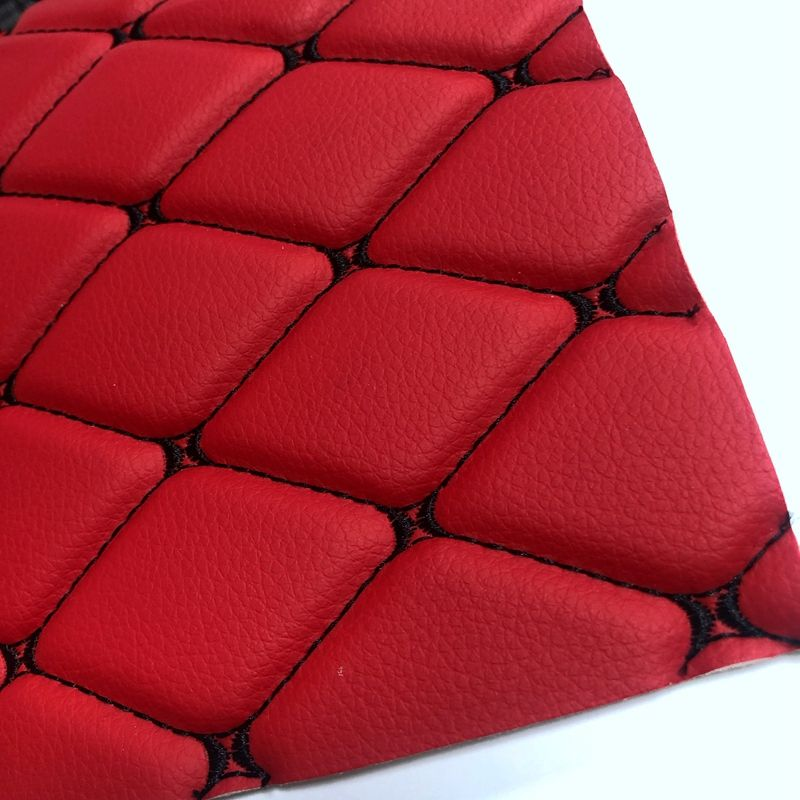 Different stitch color PVC embossed quilted leather for car seat cover and car mat making