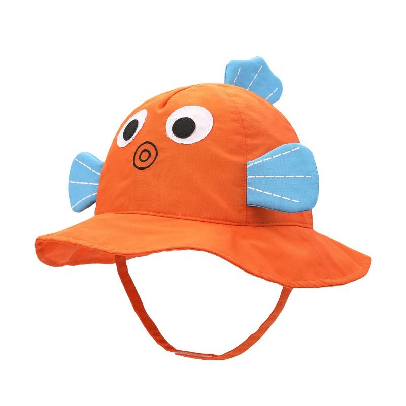 Toddler Boys Girls Sun Hat Summer Cartoon Bucket Cap Kids Wide Brim UV Protection with Drawstring 1-7 Years