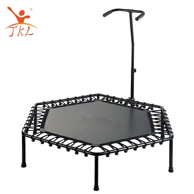Gym fitness adjustable mini 50 inch hexagon trampoline with handle bar