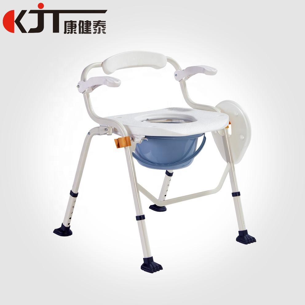 New design Multifunctional 2 in 1 shower commode chair with walking stick