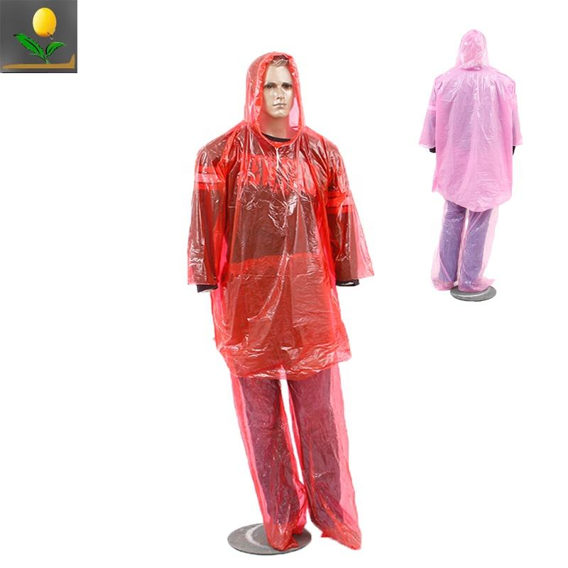 Wholesales Red Color waterproof disposable PE rainsuit/ raincoat and pants