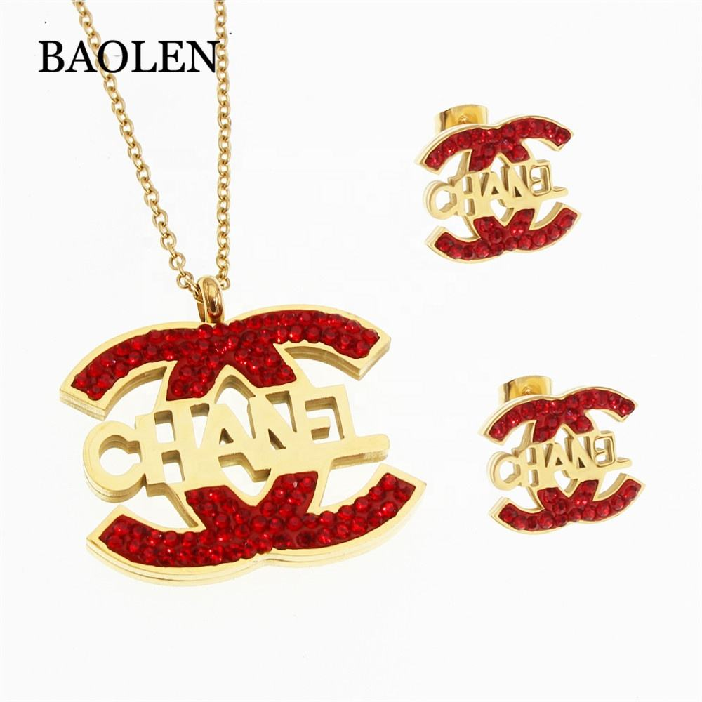 China Jewelry Supplier2019 new design stainless steel Red Blue Different Color Letter Word jewelry set wholesale stell