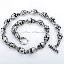 New Design Customized 13mm Heavy Gothic Skulls Link Boys Mens Chain Biker Silver Tone 316l Stainless Steel Necklace