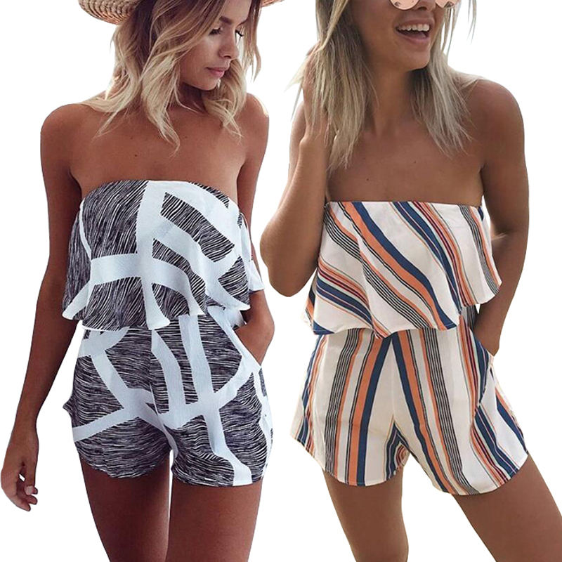 Women Print Strapless Playsuit Striped Romper Ruffles Sleeve Jumpsuit Backless Sexy Overall Casual Beach Short Pants
